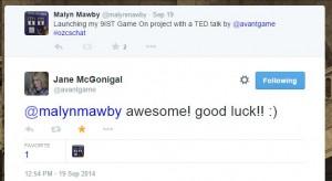 Jane McGonigal tweets us luck